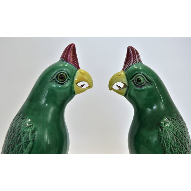 Ceramic Vintage Small Chinese Porcelain Parrot Bird Figurines -A Pair-Oriental Asian Mid Century Modern Boho Palm Beach Chic Sculpture Ceramic Pottery Phoenix For Sale - Image 7 of 13