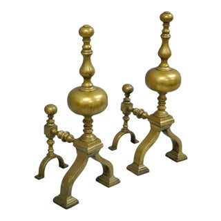 Antique Pair of Brass American Empire Federal Style Short Fireplace Andirons Vintage For Sale