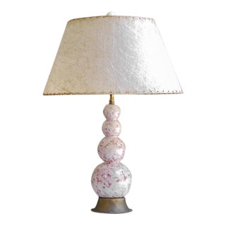 1960s Mid Century Modern White and Mauve Ceramic Lamp With Fiberglass Shade