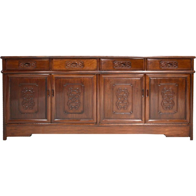 Vintage Rosewood Effect Chinoiserie Credenza Server Cabinet For Sale - Image 13 of 13