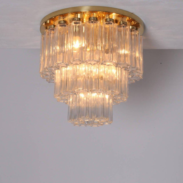 Gold Glass and Brass Three-Tier Chandelier by Glashütte Limburg, Venini Style For Sale - Image 8 of 8