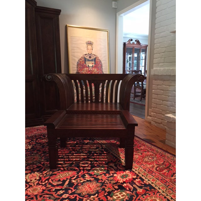 Hand-Carved Mahogany Wood Chair & Ottoman - A Pair - Image 7 of 10