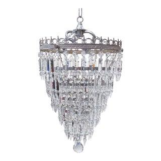 Vintage Silver Rim Tiered Crystal Chandelier For Sale