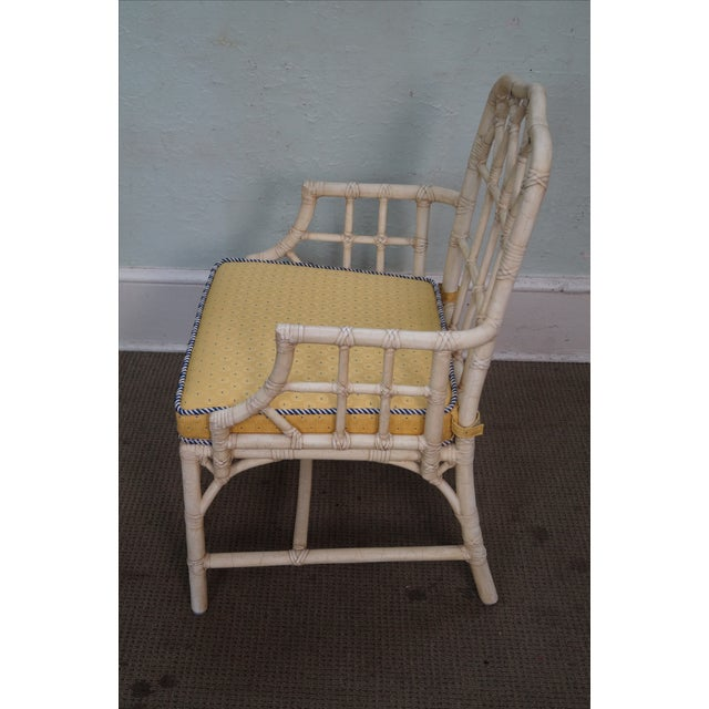 McGuire Chinese Chippendale Style Rattan Arm Chair - Image 5 of 10