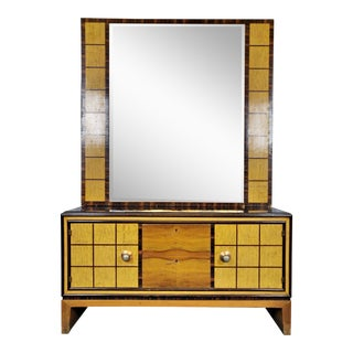 Italian Art Deco Commode With Standing Mirror For Sale