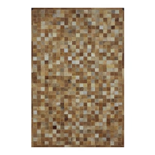 Camel Cowhide Patchwork Area Rug - 4' X 6' Premium Quality For Sale