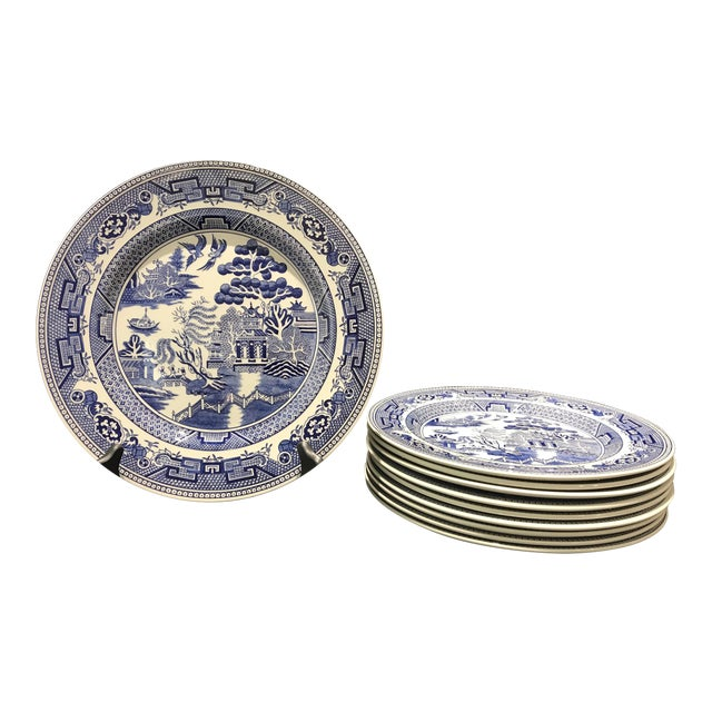 "1980s John Tams ""Blue Willow"" England Dinner Plates - Set of 10 For Sale"