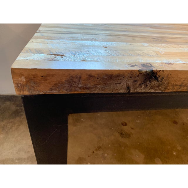 2010s Industrial Reclaimed Wood and Metal Writing Table For Sale - Image 5 of 11