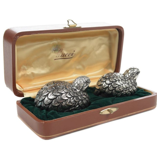 Gucci Pewter Quail Salt & Pepper Shakers For Sale