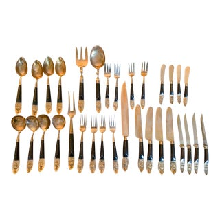 Mid Century Brass and Rosewood 32 Piece Dining Service, Silverware - Buddah Design For Sale