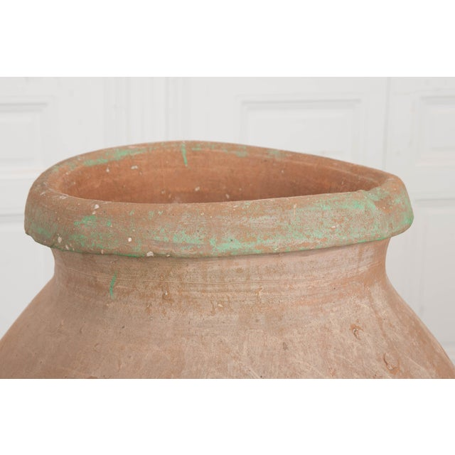 French 19th Century Terracotta Olive Jar on Painted Wrought-Iron Stand For Sale - Image 12 of 13