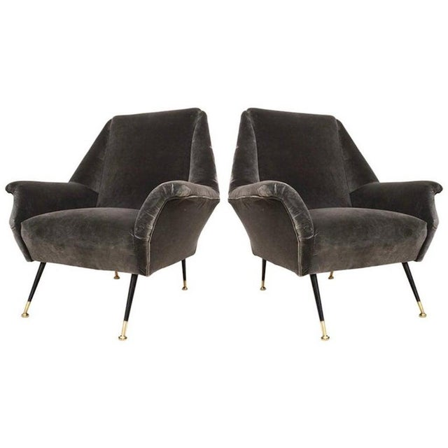 1950s Gigi Radice for Minotti Italian Vintage Gray Mohair Armchairs - a Pair For Sale - Image 9 of 9