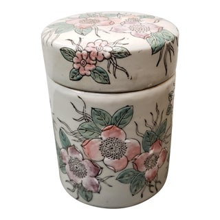 Circa 1940 Chinese Ground Porcelain Floral Motifs Cylindrical Tea Caddy For Sale