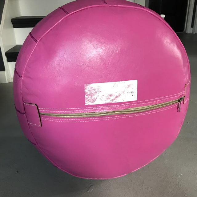 Moroccan Pink Leather Pouf - Image 5 of 6