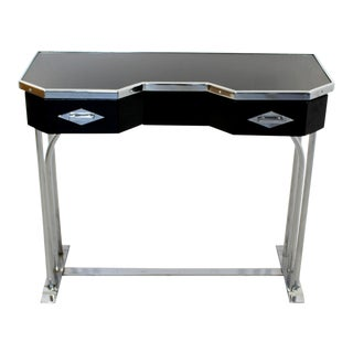 1940s Art Deco Black Metal & Chrome Plated Petite Vanity Console Table For Sale