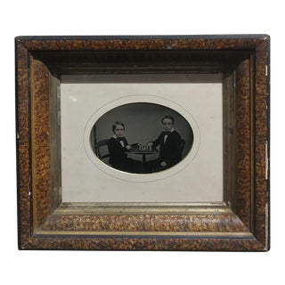 Two Boys Playing Chess c.1858 - Full Plate Ambrotype -Framed Ambrotype Image