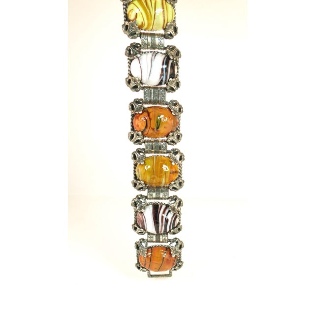 Mid-Century Selro Agate Art Glass Florentine Link Bracelet, 1950s For Sale - Image 12 of 13