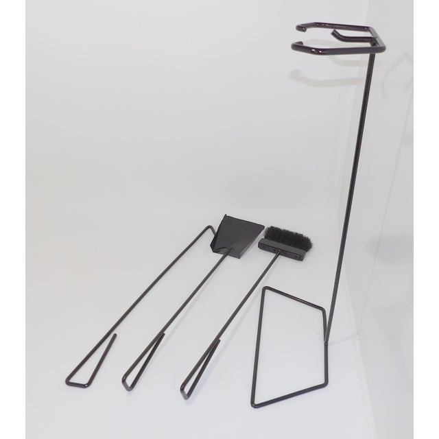 Mid-Century Modern Wrought Iron Fireplace Tool Set For Sale - Image 4 of 9