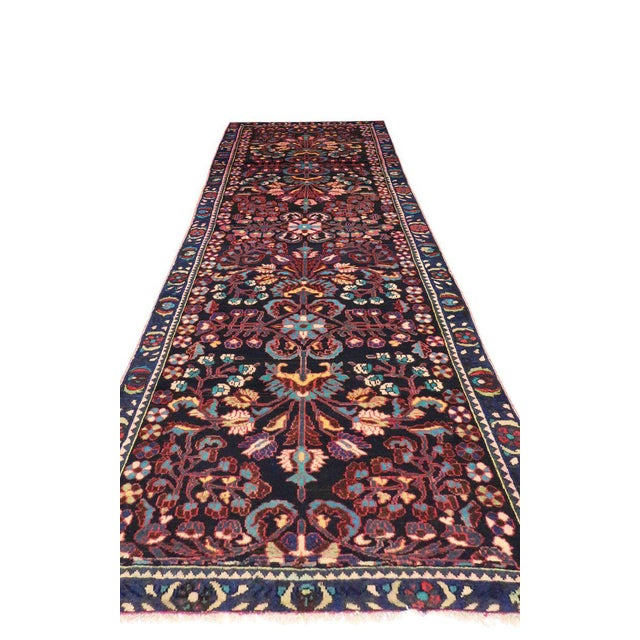 Asian Antique Persian Bakhtiari Runner with Modern Style in Vibrant Colors For Sale - Image 3 of 9