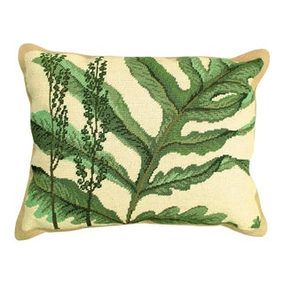 Fern Needlepoint Accent Pillow For Sale