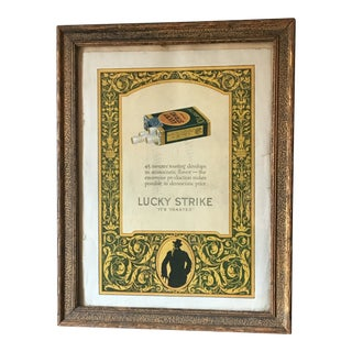 Framed 1924 Lucky Strike Cigarettes Full Color Art Deco Ad For Sale
