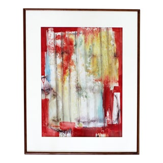 Mid Century Modern Framed Painting Signed R. GilbertRed Abstract Dated For Sale
