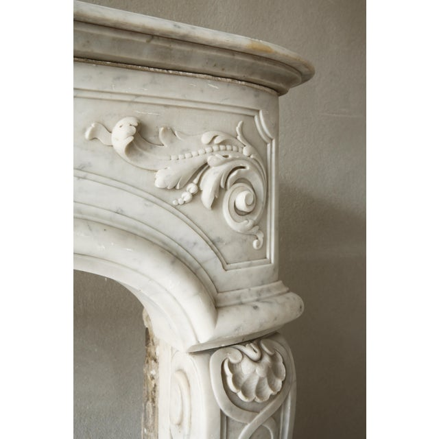 19th Century, Louis XIV Style, Antique Fireplace of Carrara Marble For Sale - Image 11 of 13