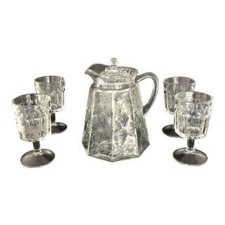 Antique Jenkins Eapg Pitcher and Glass Set - 5 Pieces For Sale