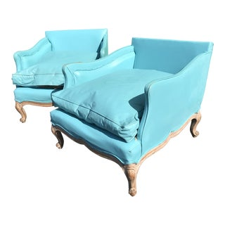 Vintage Coastal Regency French Turquoise Bergere Chairs-A Pair For Sale