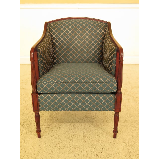 Vintage Thomasville Mahogany Sheraton Upholstered Club Chair For Sale - Image 11 of 11
