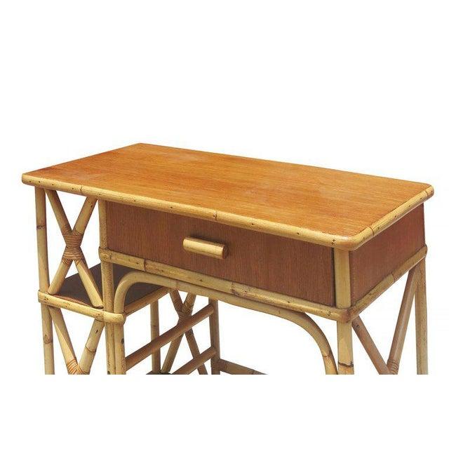 Restored Rattan & Mahogany Secretary Desk With Side Shelf - Image 2 of 8