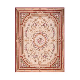 French Ivory & Red Needlepoint Rug - 8' x 10' For Sale