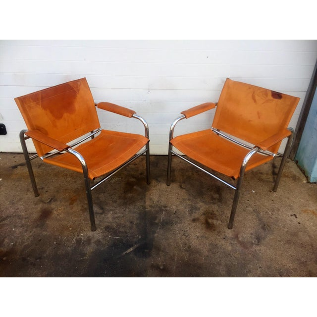 Distressed Leather & Chrome Sling Chairs - A Pair For Sale - Image 5 of 8