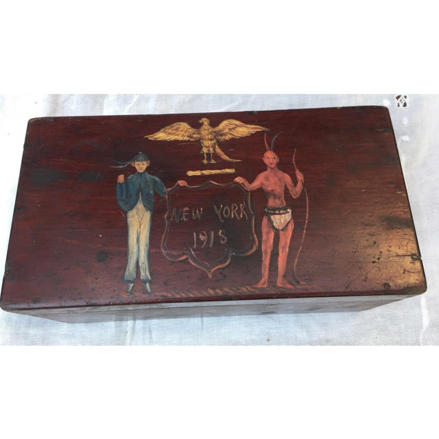Americana Antique Wooden Box W/Colonial Crest For Sale - Image 3 of 10