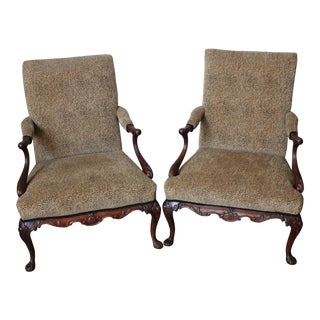 George III Style Mahogany Arm Chairs - a Pair