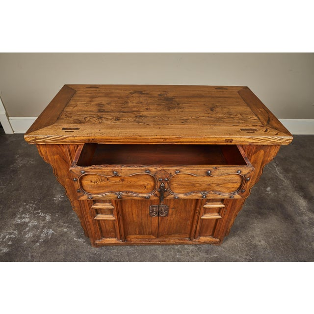 Mid 19th Century 19th C. Chinese Elm Altar Cabinet For Sale - Image 5 of 11