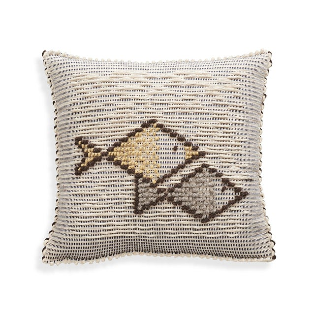 "Early 21st Century Schumacher Artigianale Italian Hand-Woven Cotton Wool Natural Blue 18"" Pillow For Sale - Image 5 of 5"