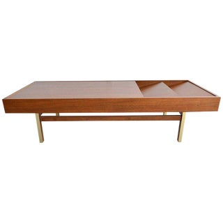 1970 Mahogany & Brass Coffee Table
