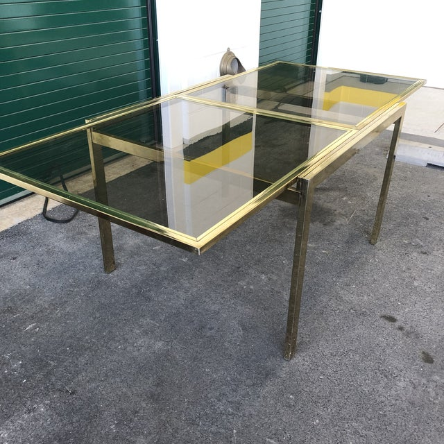 Hollywood Regency Vintage Dia Brass Lacquer and Glass Expanding Dining Table For Sale - Image 3 of 13