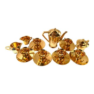 Mid-Century 22k Gold Coffee Set - 18 Piece Set For Sale