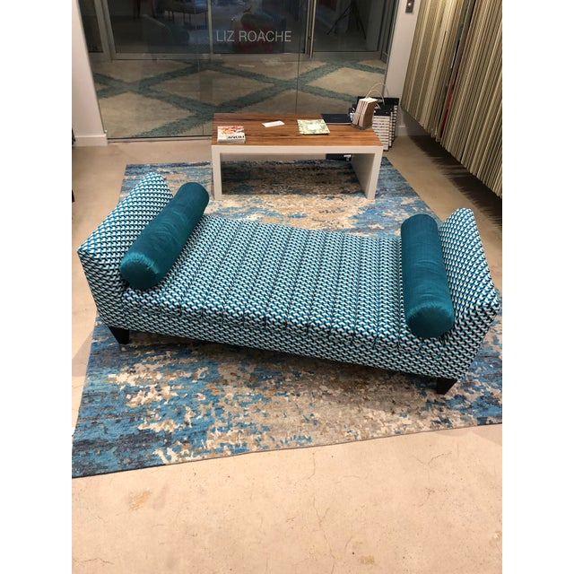 Contemporary Contemporary Teal Patterned Daybed For Sale - Image 3 of 10