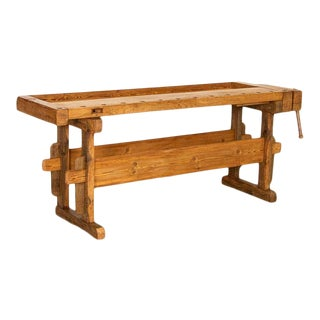 Vintage Carpenter's Workbench Rustic Console Table, Denmark For Sale