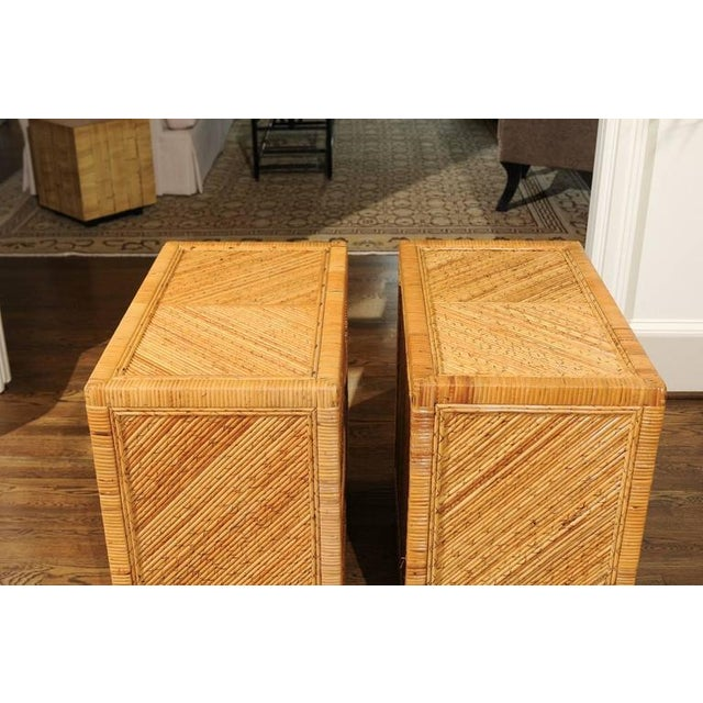 Tan Incredible Pair of Restored Vintage Cane and Reed Bamboo Small Chests For Sale - Image 8 of 11