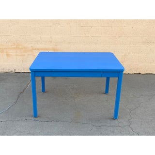 1960s Tanker Table by Steelcase, Refinished in Bright Blue Preview