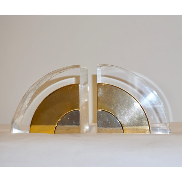 Contemporary 1970 Italian Brass Nickel Lucite Bookends - a Pair For Sale - Image 3 of 11