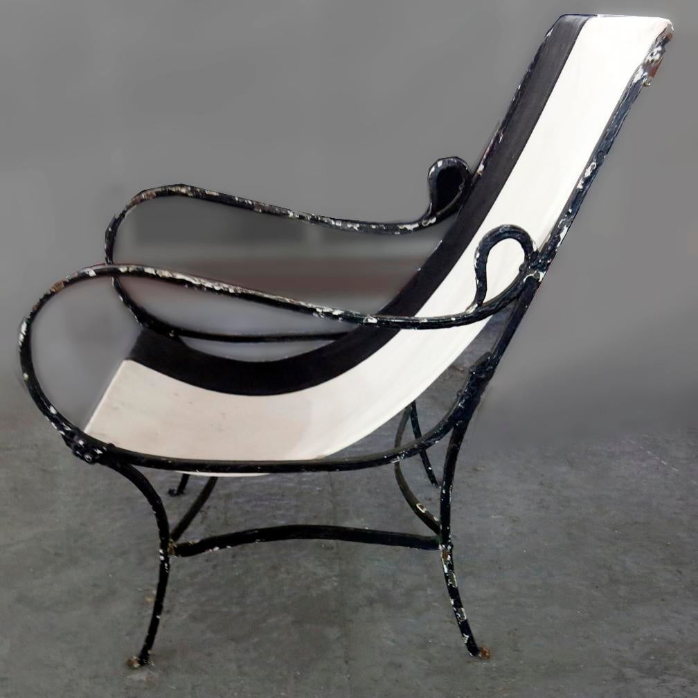 Late 20th Century Wrought Iron Slingback Chair With Canvas For Sale   Image  5 Of 6