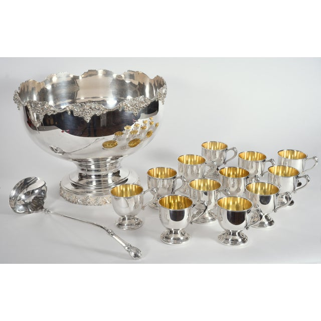Gold Vintage English Georgian Style Silver Plated Copper Punch Bowl Set - 15 Pc. For Sale - Image 8 of 13