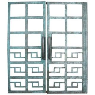Vintage Heavy Geometric Steel Gates-a Pair For Sale