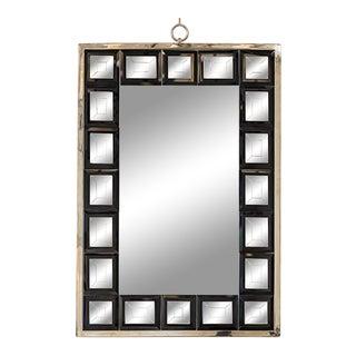 Andre Hayat Mirror Model 'Dakota' Nickeled Bronze Frame & Black Square Mirror For Sale