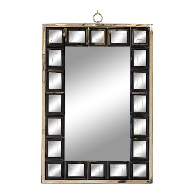 Andre Hayat Mirror Model 'Dakota' Nickeled Bronze Frame & Black Square Mirror For Sale